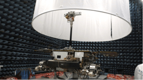 Rover in Deployed configuration in the Anechoic EMC Chamber before being covered by the Yurt